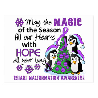 Christmas Penguins Chiari Malformation Post Card
