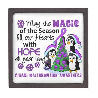 Christmas Penguins Chiari Malformation Premium Trinket Box