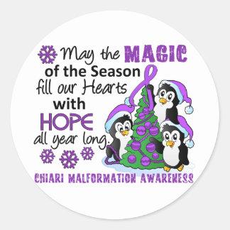 Christmas Penguins Chiari Malformation Classic Round Sticker