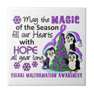 Christmas Penguins Chiari Malformation Ceramic Tile