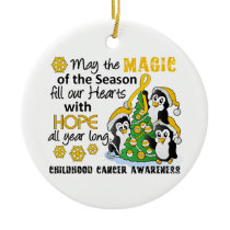 Christmas Penguins Childhood Cancer Ceramic Ornament