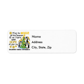 Christmas Penguins Childhood Cancer Label