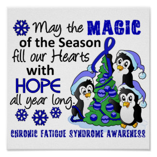 Christmas Penguins Chronic Fatigue Syndrome CFS Poster