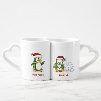 Christmas penguins coffee mug set