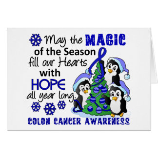 Christmas Penguins Colon Cancer Greeting Card