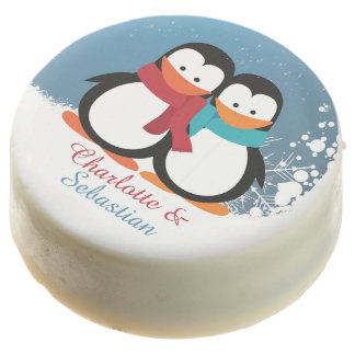 Christmas Penguins Couple Personalized Chocolate Covered Oreo