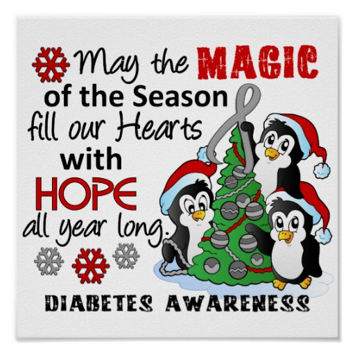 Christmas Penguins Diabetes Posters