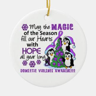 Christmas Penguins Domestic Violence Ceramic Ornament