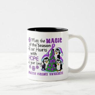 Christmas Penguins Domestic Violence Two-Tone Coffee Mug