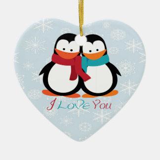 Christmas Penguins Double-Sided Heart Ceramic Christmas Ornament