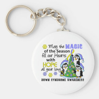 Christmas Penguins Down Syndrome Basic Round Button Keychain