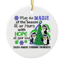 Christmas Penguins Ehlers Danlos Syndrome EDS Ceramic Ornament