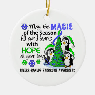 Christmas Penguins Ehlers Danlos Syndrome EDS Double-Sided Ceramic Round Christmas Ornament