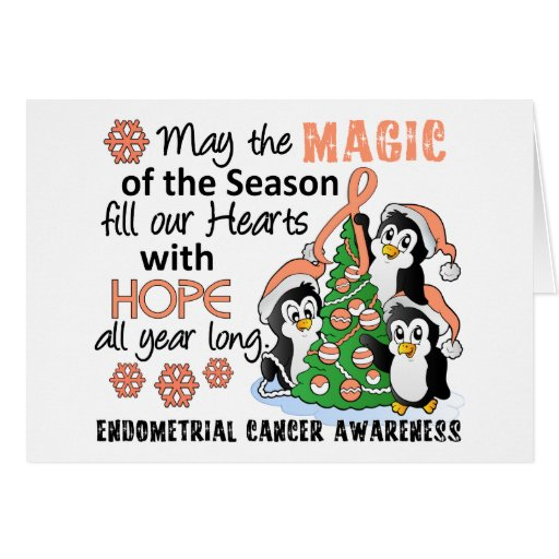 Christmas Penguins Endometrial Cancer Greeting Card