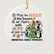 Christmas Penguins Endometrial Cancer Ceramic Ornament