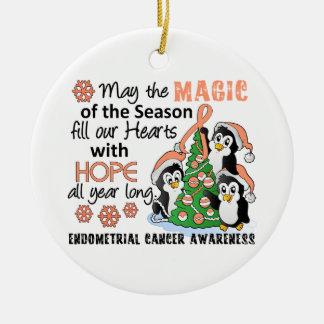 Christmas Penguins Endometrial Cancer Ceramic Ornament