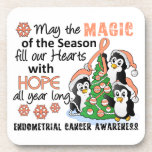 Christmas Penguins Endometrial Cancer Coaster