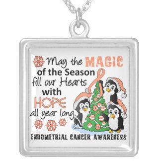 Christmas Penguins Endometrial Cancer Square Pendant Necklace