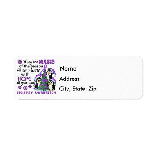 Christmas Penguins Epilepsy Custom Return Address Label