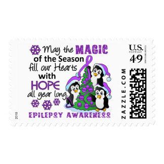 Christmas Penguins Epilepsy Postage Stamp