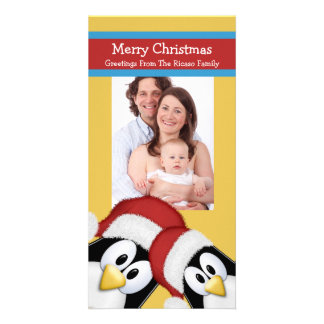 Christmas Penguins Fun Personalized Card