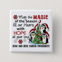 Christmas Penguins Head and Neck Cancer Button