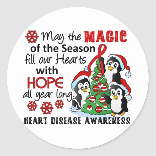 Christmas Penguins Heart Disease Round Stickers