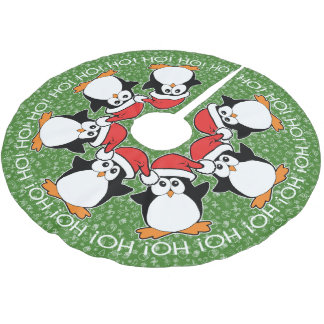 Christmas Penguins Ho! HO! Ho! Brushed Polyester Tree Skirt