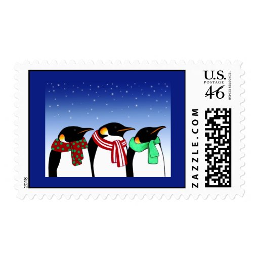 Christmas Penguins Holiday Postage Stamps