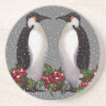 Christmas Penguins in Snow, Holly: Art Drink Coaster