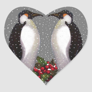 Christmas Penguins in Snow, Holly: Art Heart Sticker