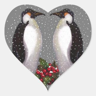 Christmas Penguins in Snow, Holly: Art Heart Sticker