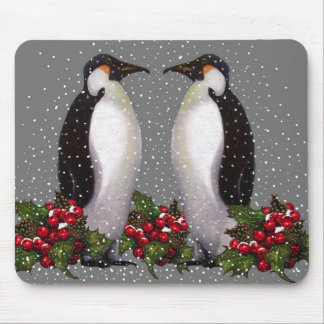 Christmas Penguins in Snow, Holly: Art Mouse Pad
