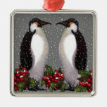 Christmas Penguins in Snow, Holly: Art Christmas Tree Ornaments