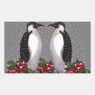 Christmas Penguins in Snow, Holly: Art Rectangular Sticker