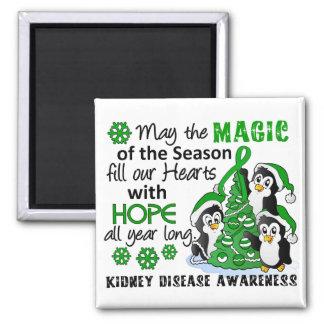 Christmas Penguins Kidney Disease 2 Inch Square Magnet