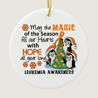 Christmas Penguins Leukemia Ceramic Ornament