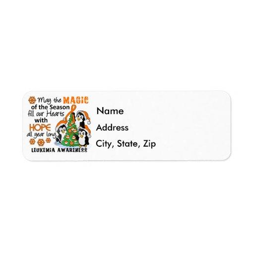 Christmas Penguins Leukemia Custom Return Address Label