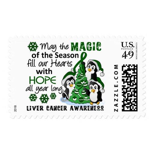 Christmas Penguins Liver Cancer Postage Stamp