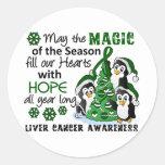 Christmas Penguins Liver Cancer Round Sticker