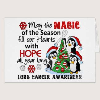 Christmas Penguins Lung Cancer Card