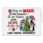 Christmas Penguins Lung Cancer Greeting Cards