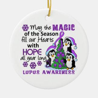 Christmas Penguins Lupus Ceramic Ornament