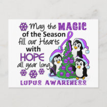 Christmas Penguins Lupus Holiday Postcard