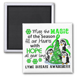 Christmas Penguins Lyme Disease 2 Inch Square Magnet