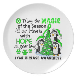 Christmas Penguins Lyme Disease Party Plate