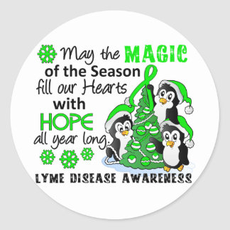 Christmas Penguins Lyme Disease Classic Round Sticker
