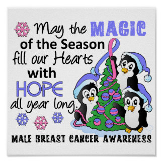 Christmas Penguins Male Breast Cancer Posters