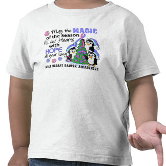 Christmas Penguins Male Breast Cancer Tshirt