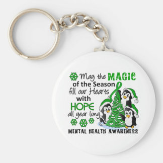 Christmas Penguins Mental Health Basic Round Button Keychain